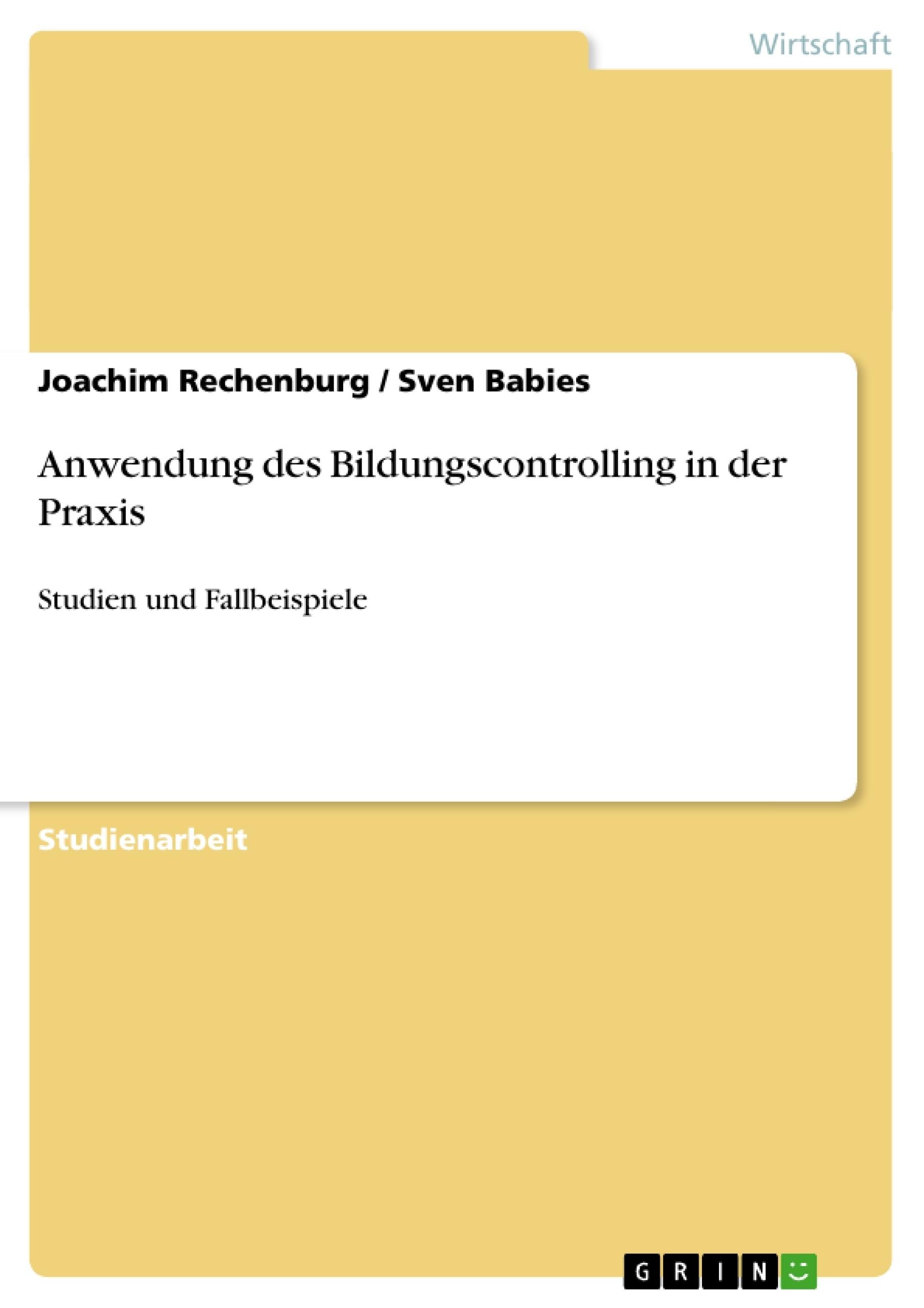 Titel: Anwendung des Bildungscontrolling in der Praxis