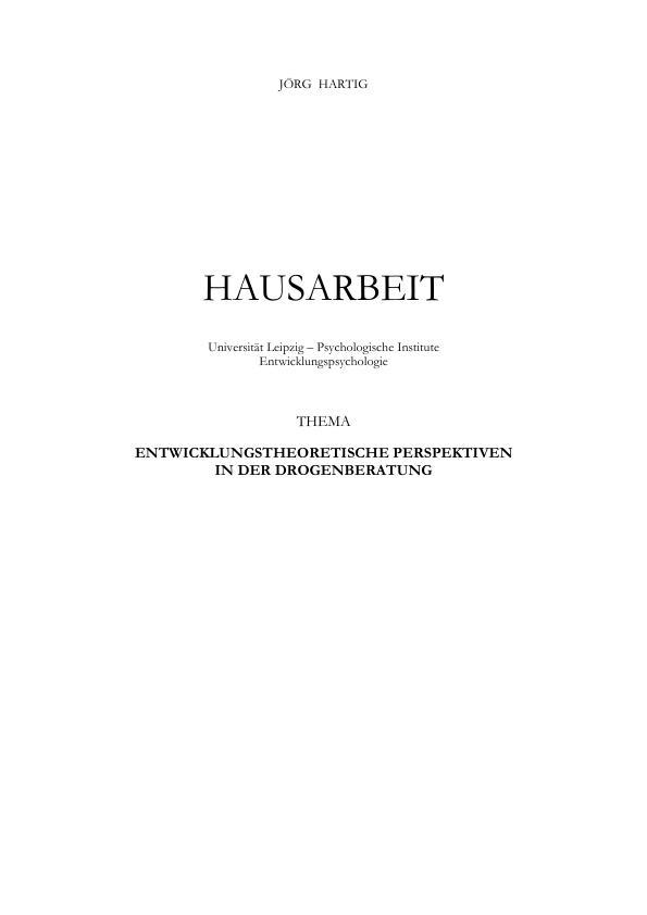 Titel: Entwicklungstheoretische Perspektiven in der Drogenberatung