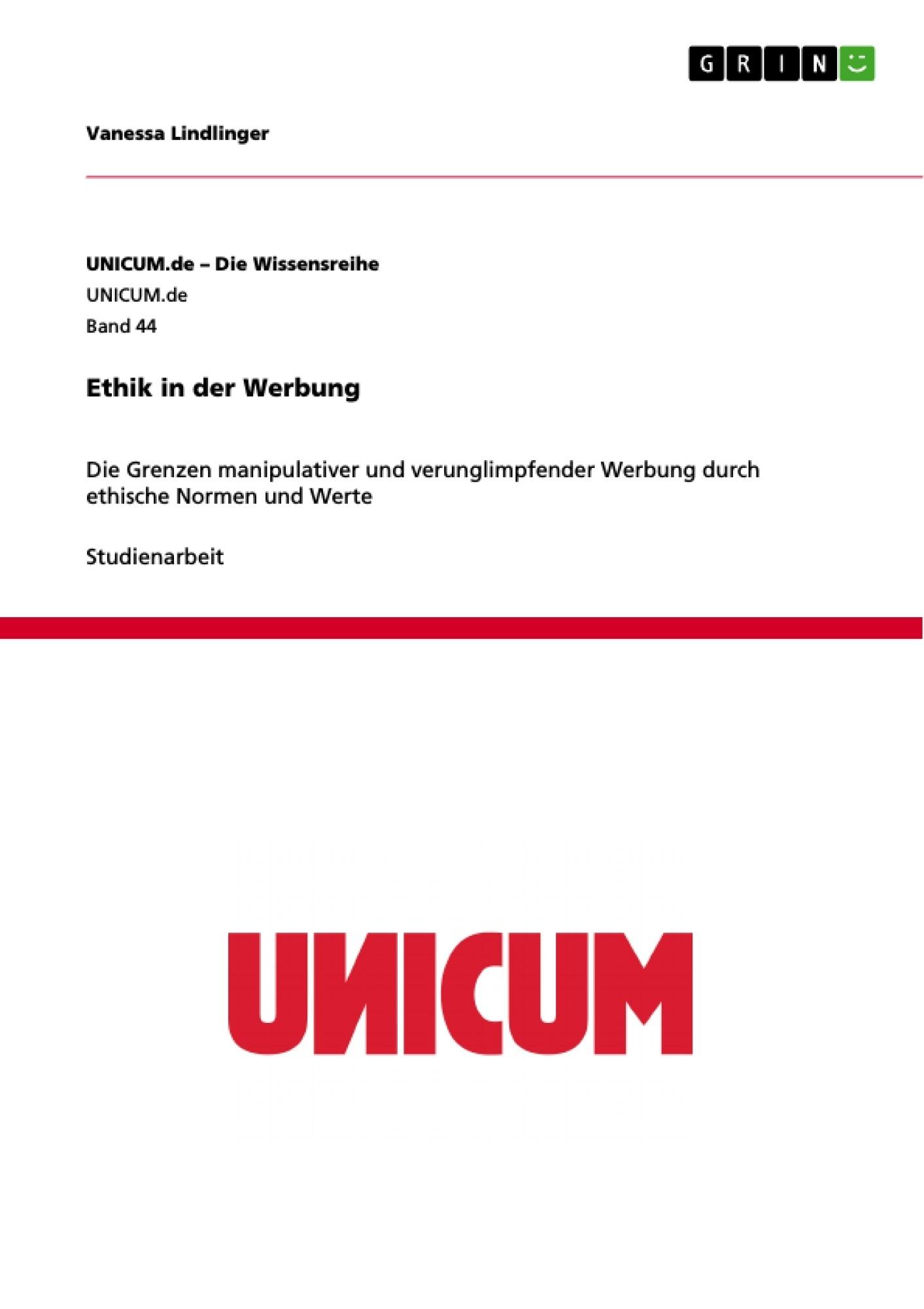 Titel: Ethik in der Werbung