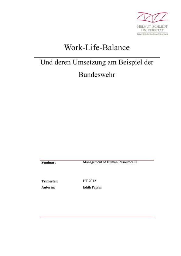 Titel: Work-Life-Balance bei der Bundeswehr