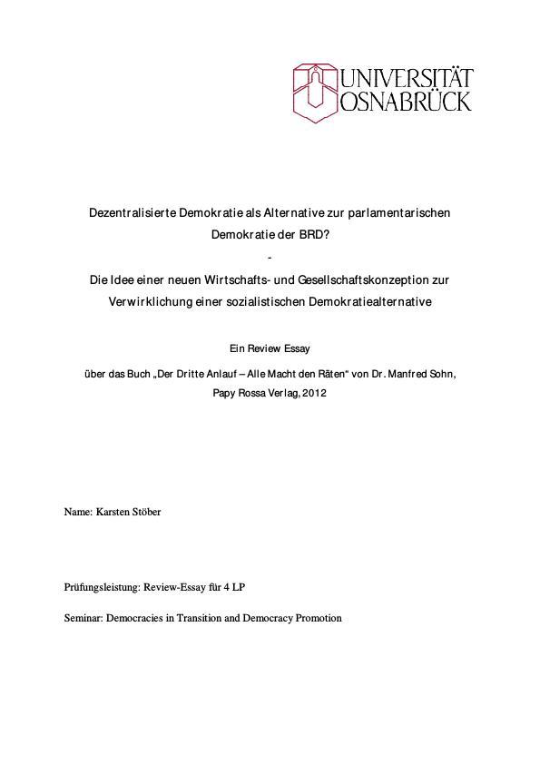 Titel: Dezentralisierte Demokratie als Alternative zur parlamentarischen Demokratie der BRD?