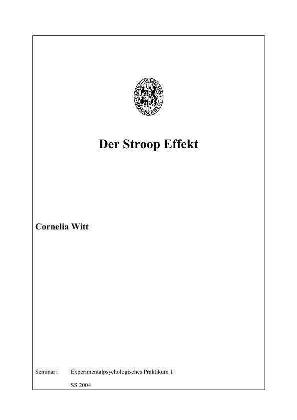 Der Stroop-Effekt | Masterarbeit, Hausarbeit, Bachelorarbeit ...