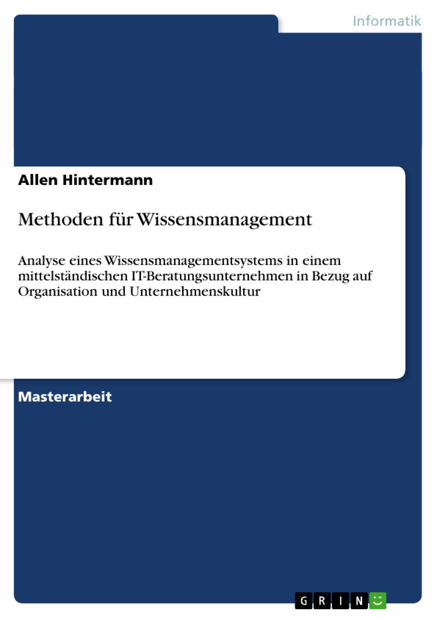 Titel: Methoden für Wissensmanagement