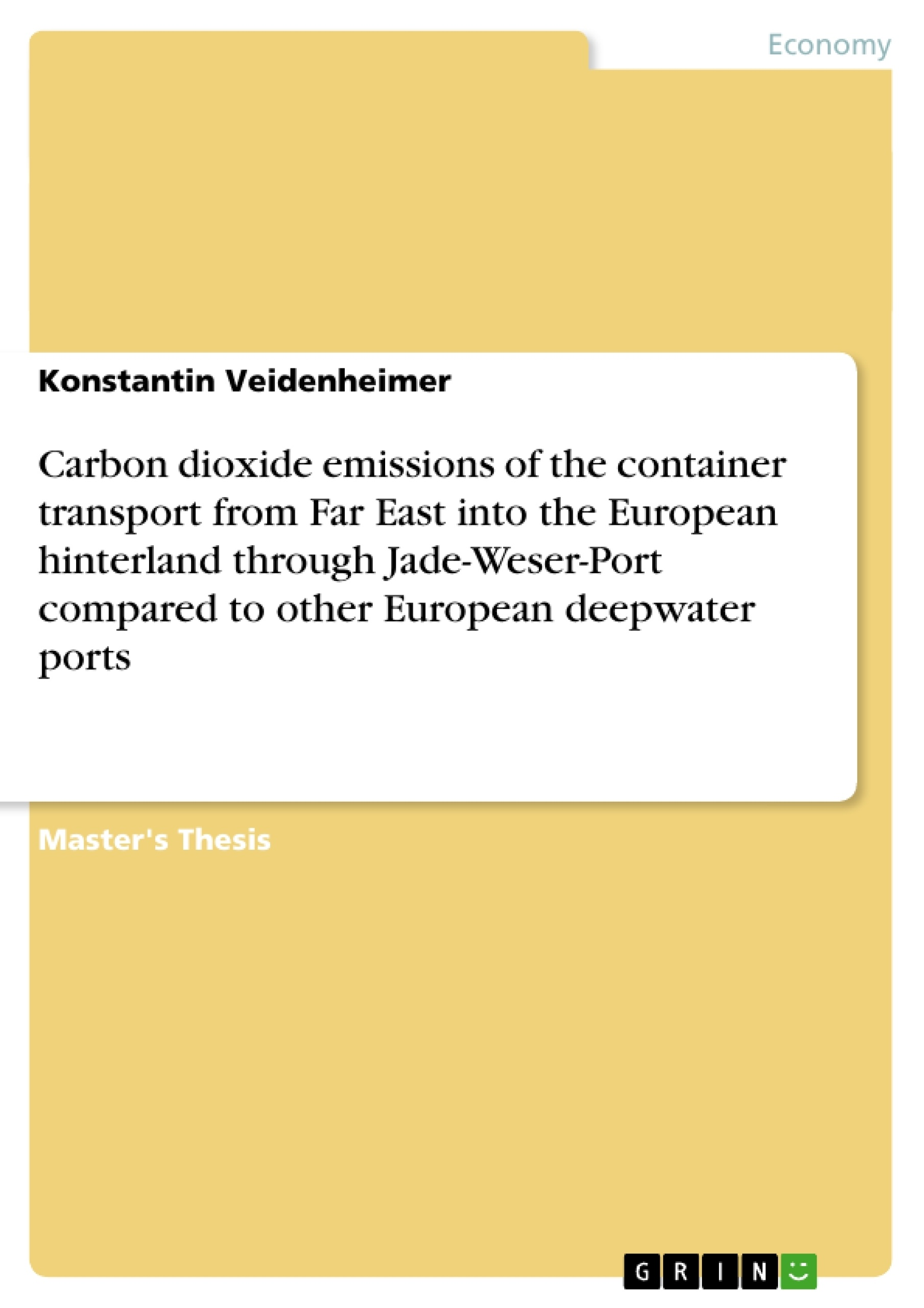 Title: Carbon dioxide emissions of the container transport from Far East into the European hinterland through Jade-Weser-Port compared to other European deepwater ports