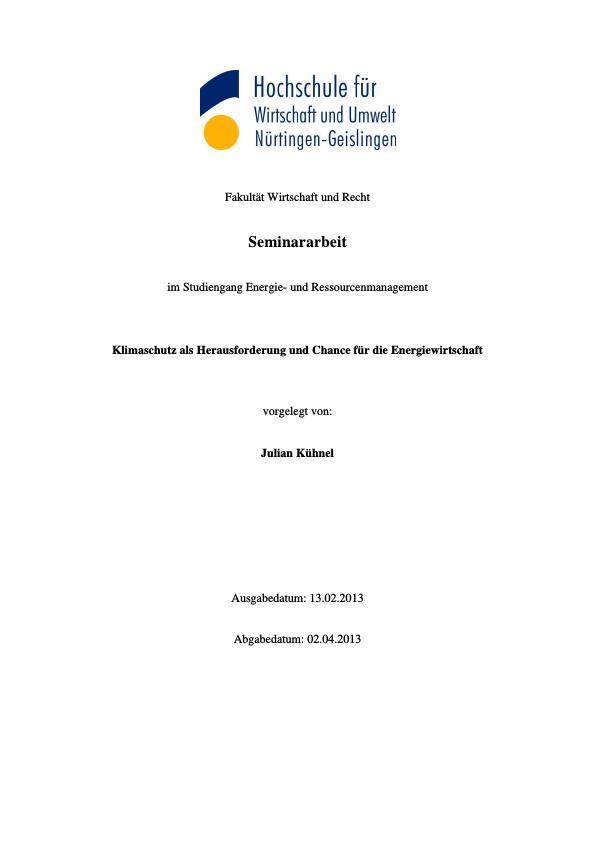 Titel: Klimaschutz als Herausforderung und Chance für die Energiewirtschaft
