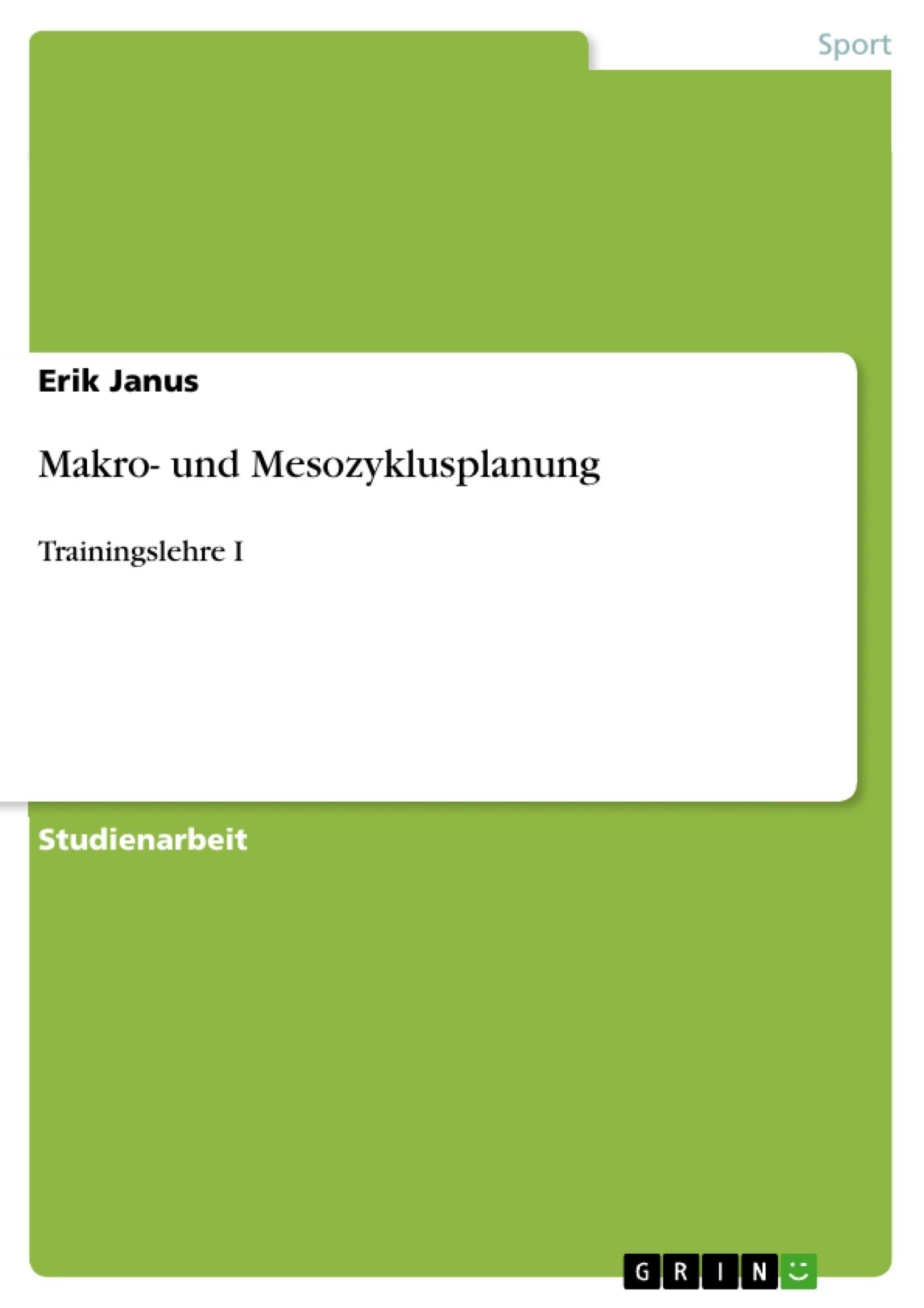 Titel: Makro- und Mesozyklusplanung