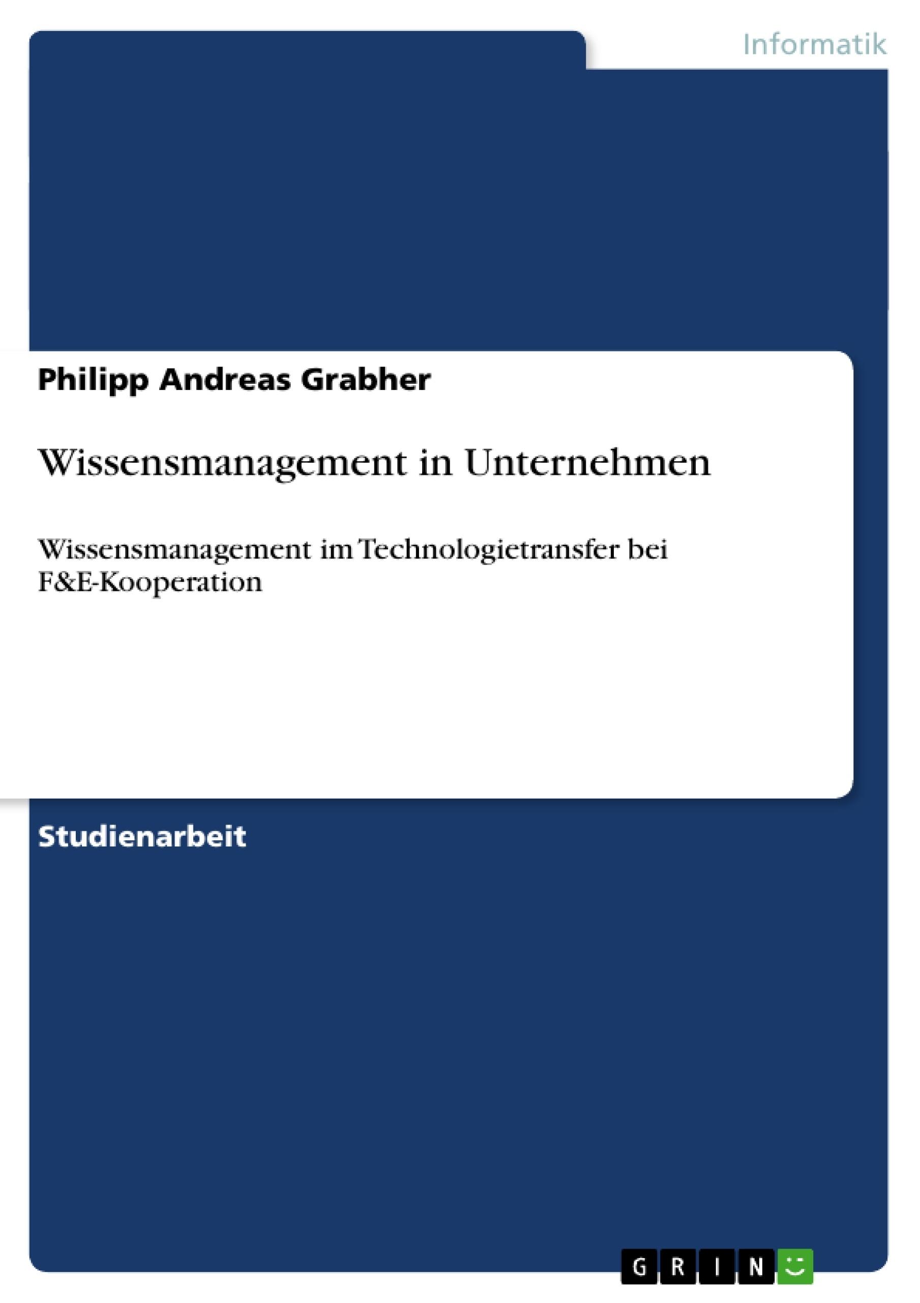 Titel: Wissensmanagement in Unternehmen
