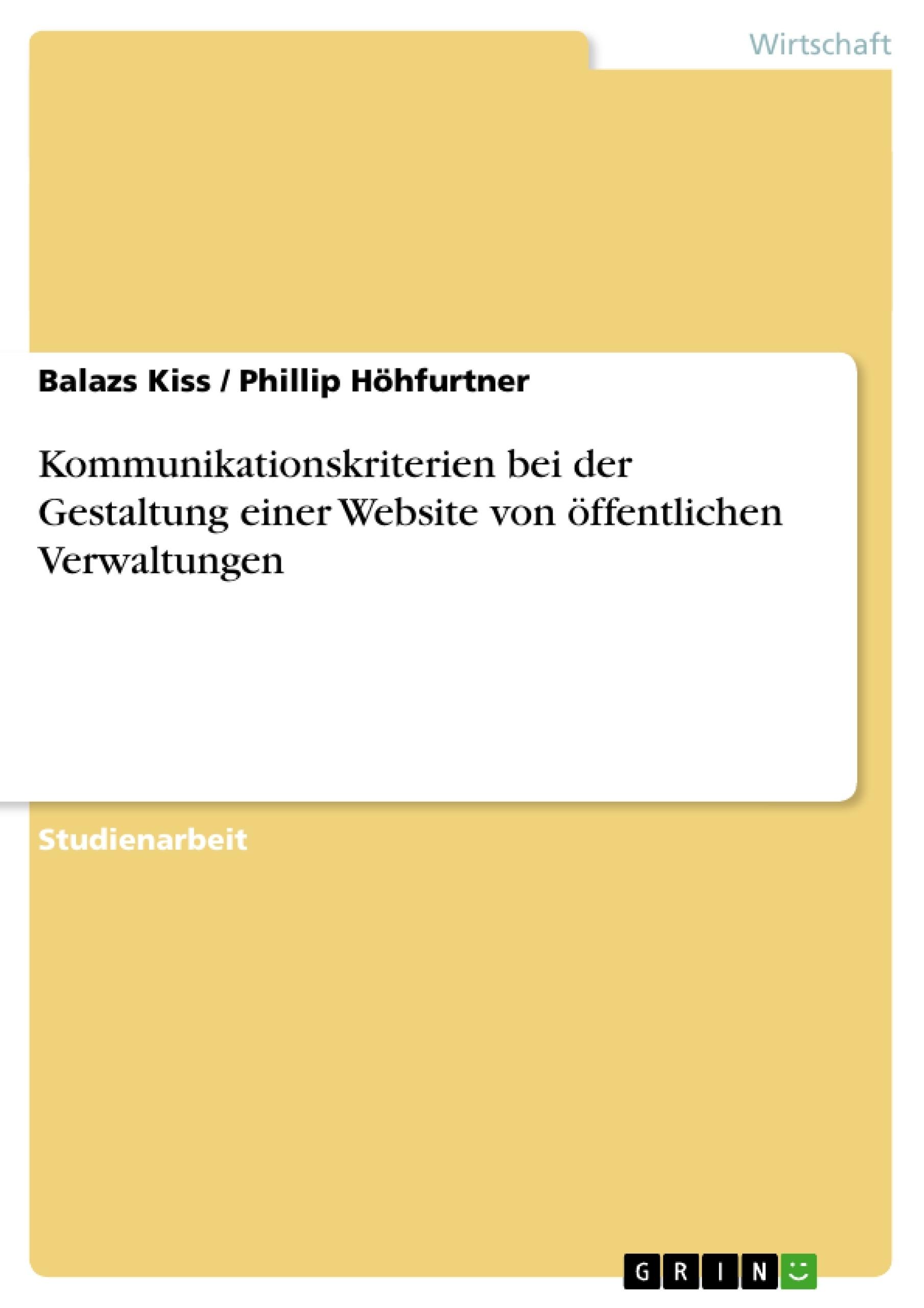 Titel: Kommunikationskriterien bei der Gestaltung einer Website von öffentlichen Verwaltungen