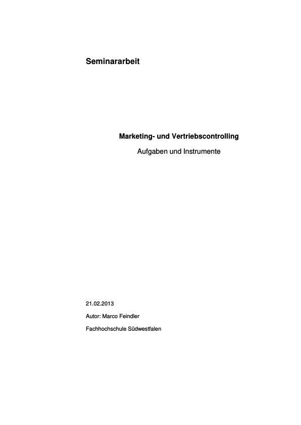 Titel: Marketing- und Vertriebscontrolling. Aufgaben und Instrumente