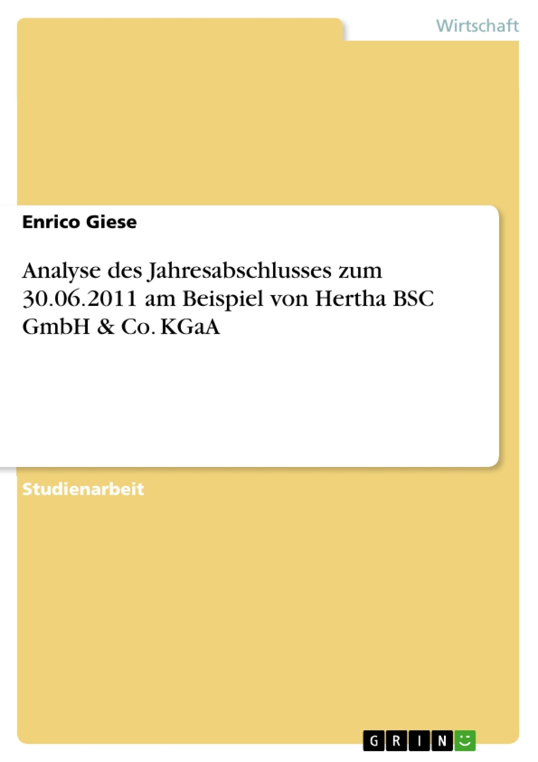 Titel: Analyse des Jahresabschlusses zum 30.06.2011 am Beispiel von Hertha BSC GmbH & Co. KGaA