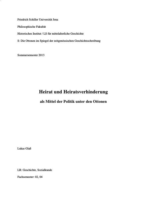 Titel: Heiratspolitik unter den Ottonen