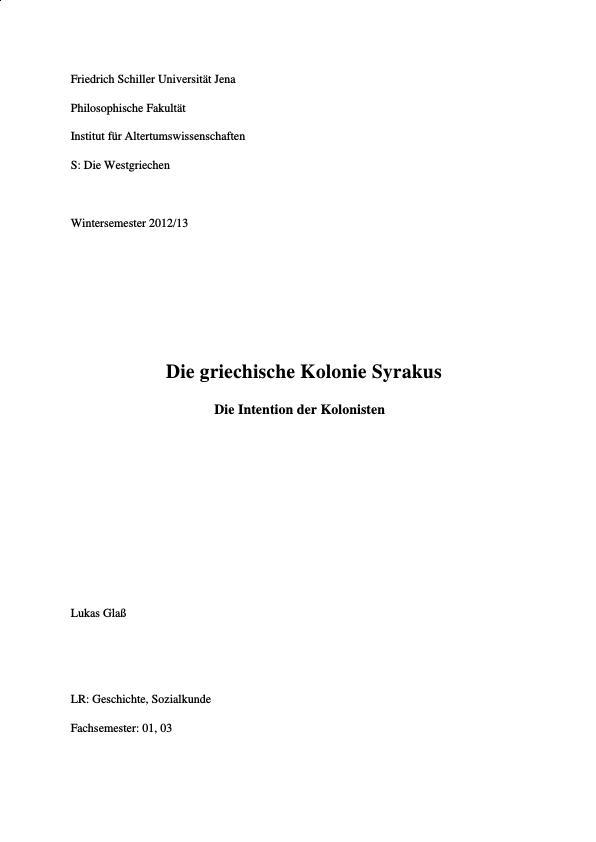 Titel: Die griechische Kolonie Syrakus