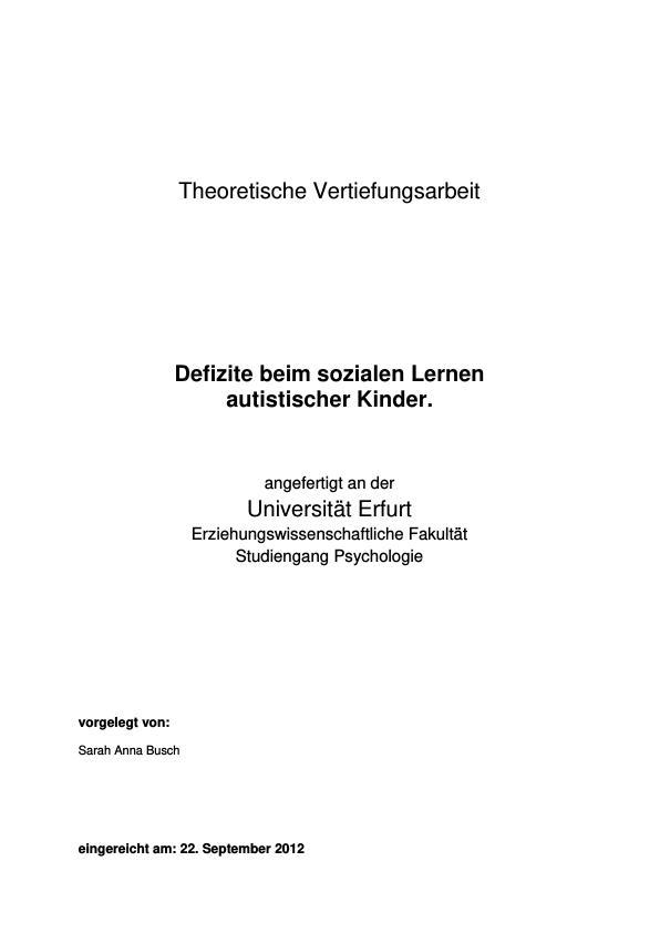 Titel: Defizite beim sozialen Lernen autistischer Kinder