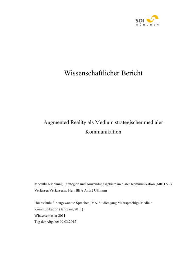 Titel: Augmented Reality als Medium strategischer medialer Kommunikation