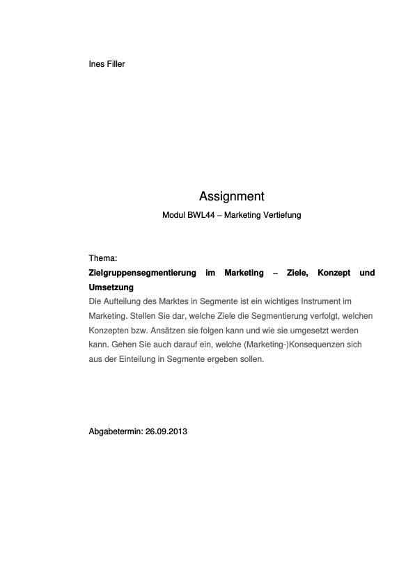 Titel: Zielgruppensegmentierung im Marketing. Ziele, Konzept und Umsetzung