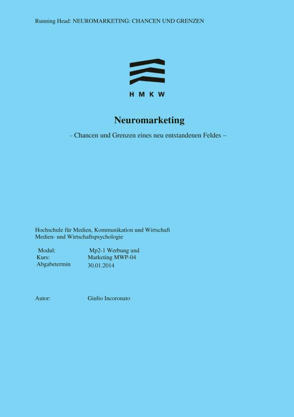 Titel: Neuromarketing. Chancen und Grenzen