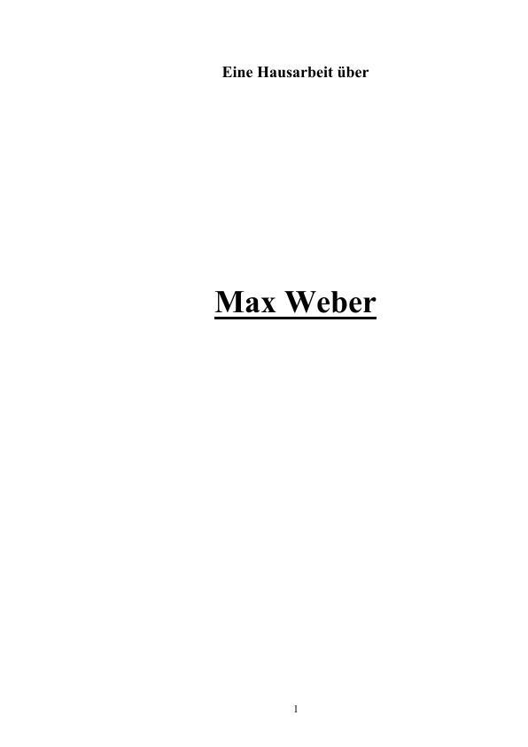Der Soziologe Max Weber Masterarbeit Hausarbeit Bachelorarbeit