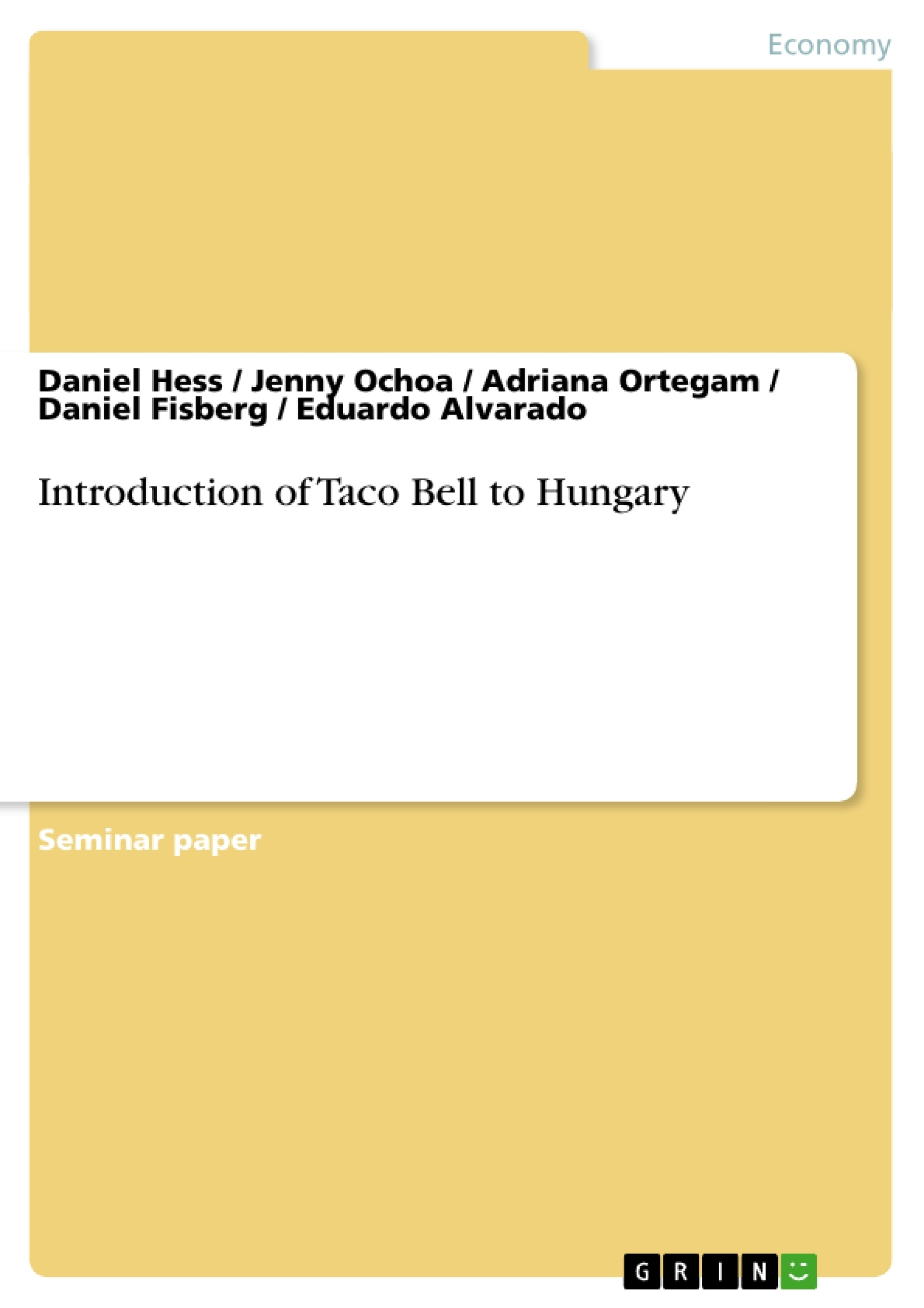 Introduction of Taco Bell to Hungary | Publish your master\'s thesis ...