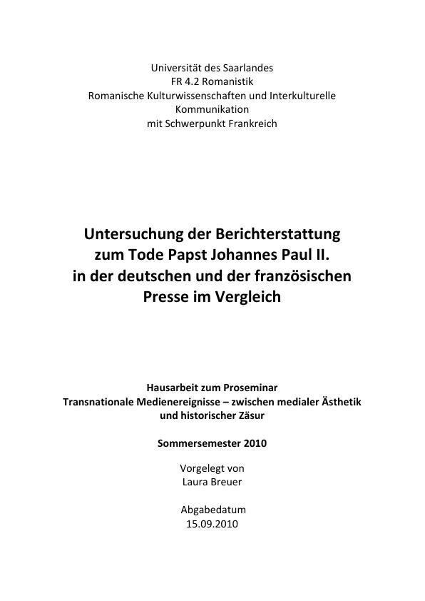 Titel: Berichterstattung zum Tode Papst Johannes Paul II. in der deutschen und französischen Presse