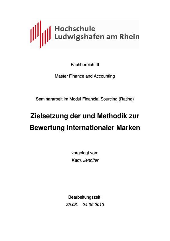 Titel: Zielsetzung und Methodik zur Bewertung internationaler Marken