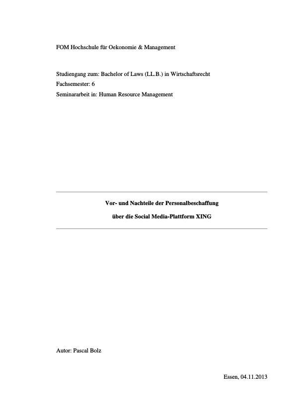 Titel: Personalbeschaffung über die Social Media-Plattform XING. Vor- und Nachteile