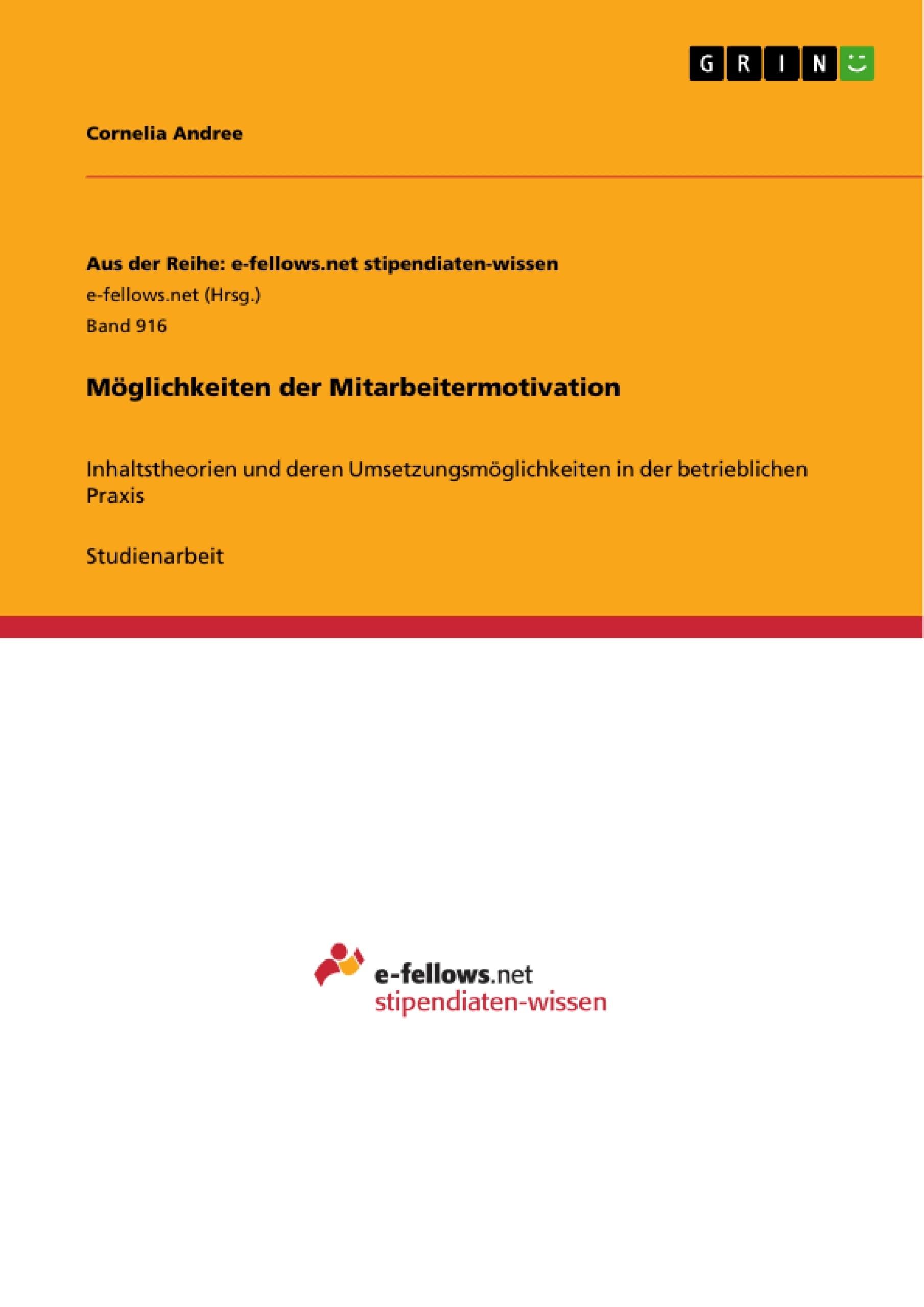 Titel: Möglichkeiten der Mitarbeitermotivation