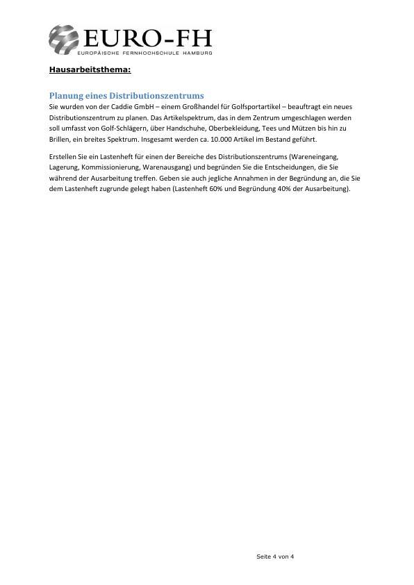 Titel: Planung eines Distributionszentrums. Erstellung eines Lastenheftes