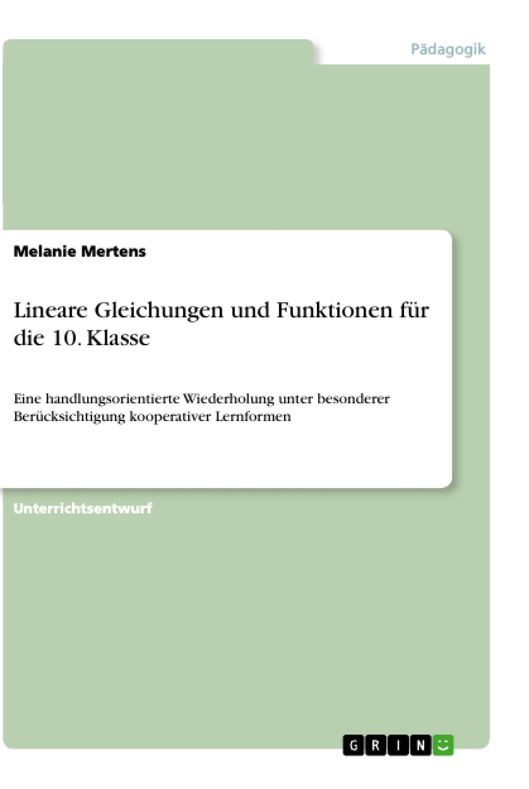 Lineare Gleichungen und Funktionen für die 10. Klasse | Masterarbeit ...