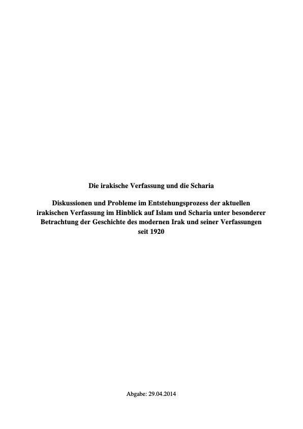 Titel: Die irakische Verfassung und die Scharia