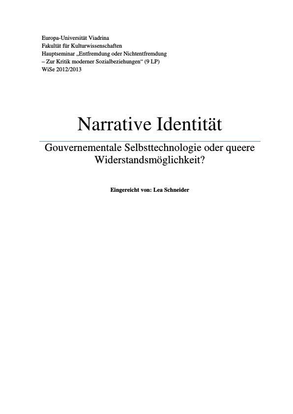Titel: Narrative Identität. Gouvernementale Selbsttechnologie oder queere Widerstandsmöglichkeit?