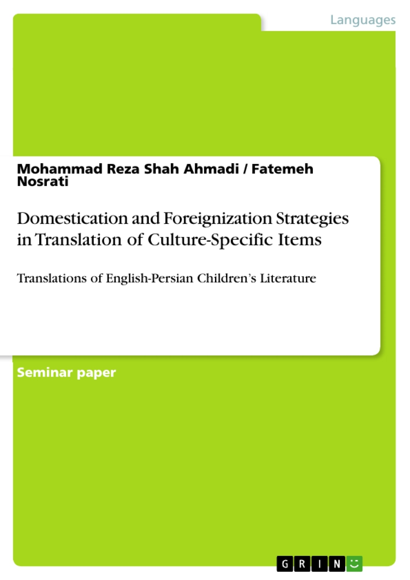 GRIN - Domestication and Foreignization Strategies in Translation of  Culture-Specific Items