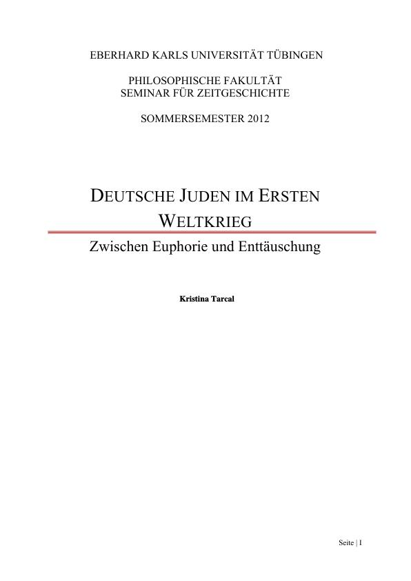 Titel: Deutsche Juden im Ersten Weltkrieg. Zwischen Euphorie und Enttäuschung
