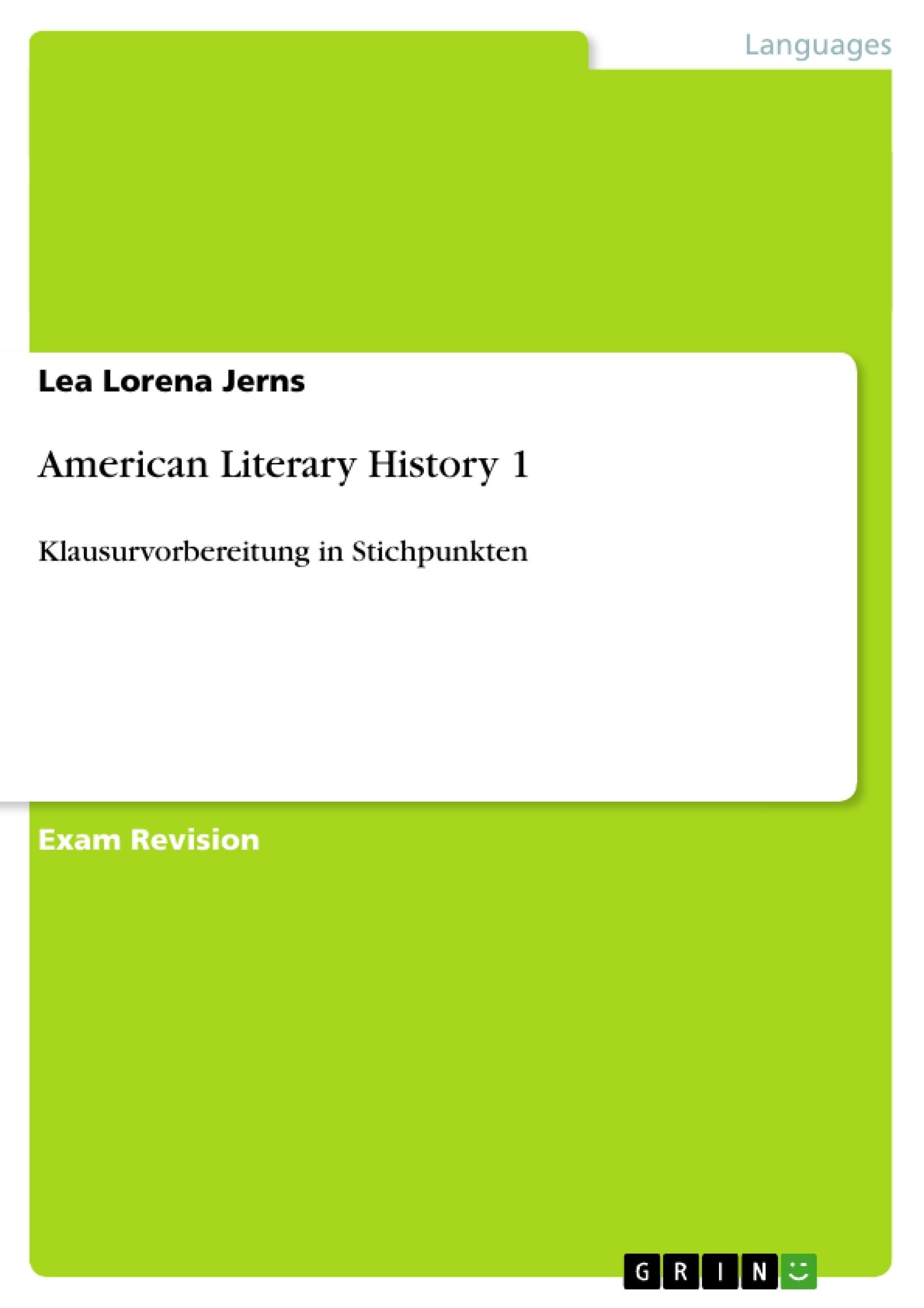 Title: American Literary History 1