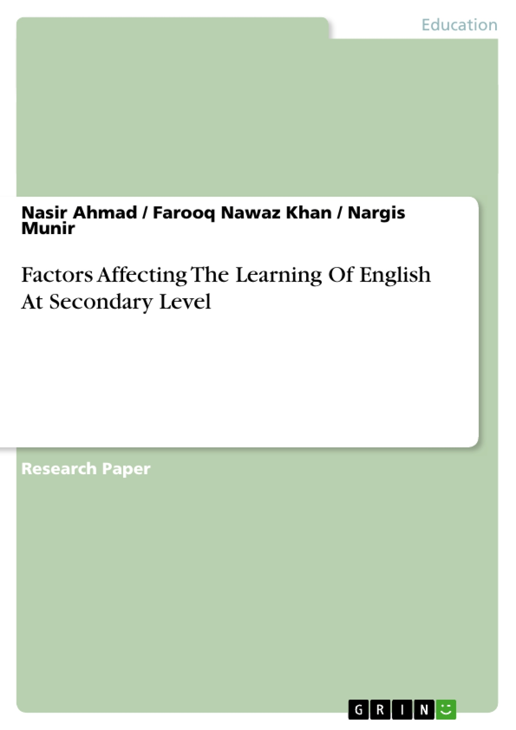 Title: Factors  Affecting  The  Learning  Of  English  At Secondary Level