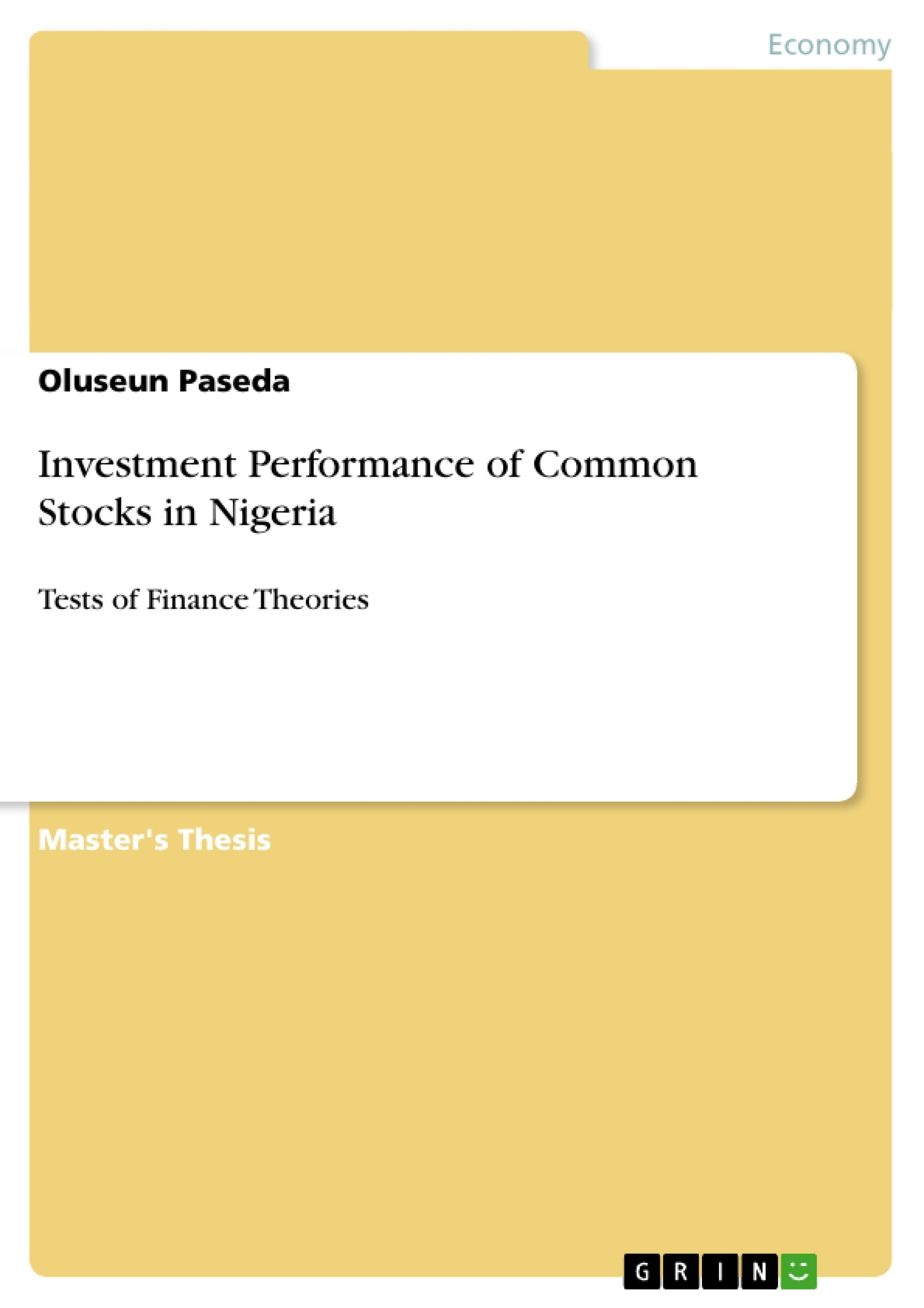 Title: Investment Performance of Common Stocks in Nigeria
