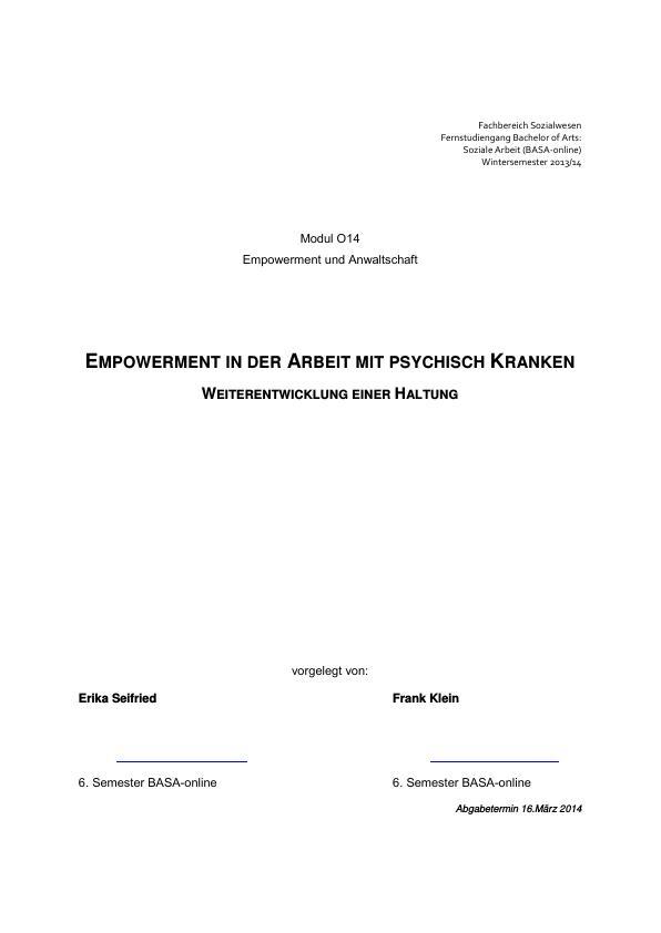 Titel: Ist Empowerment ein geeignetes Konzept für die Arbeit mit psychisch Kranken?