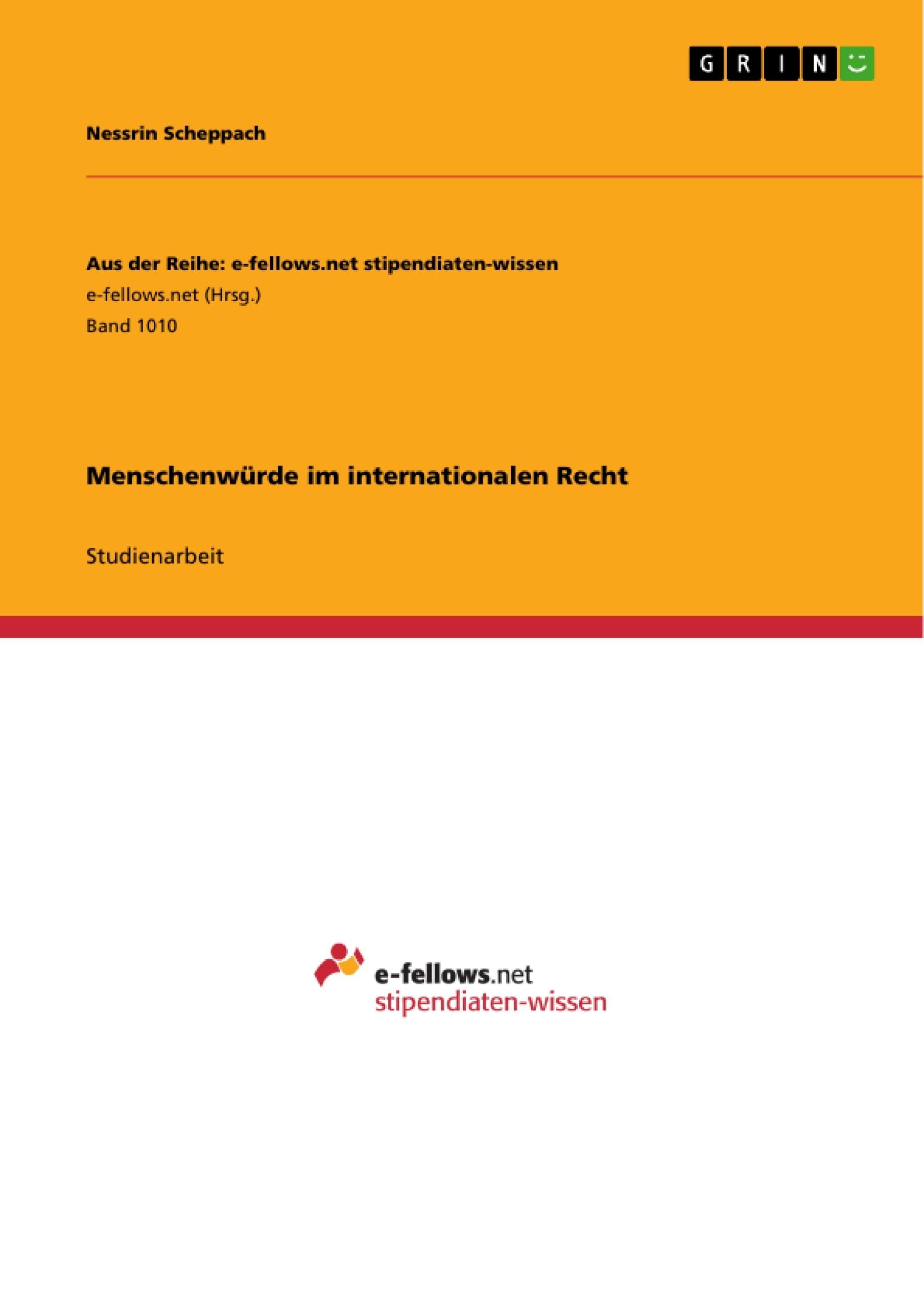 Titel: Menschenwürde im internationalen Recht
