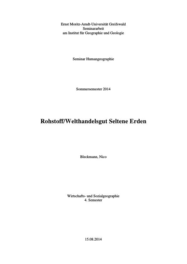 Rohstoff und Welthandelsgut Seltene Erden | Masterarbeit, Hausarbeit ...