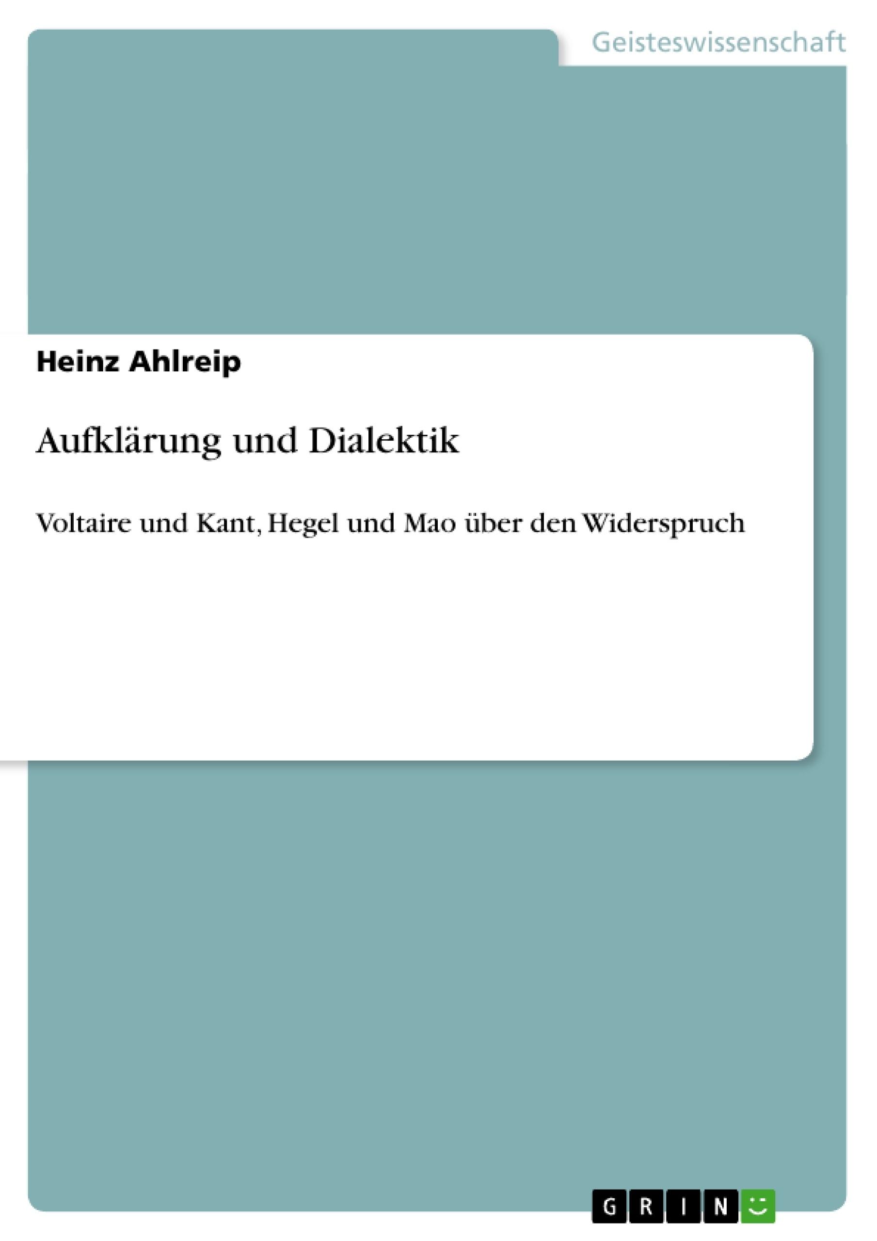Titel: Aufklärung und Dialektik
