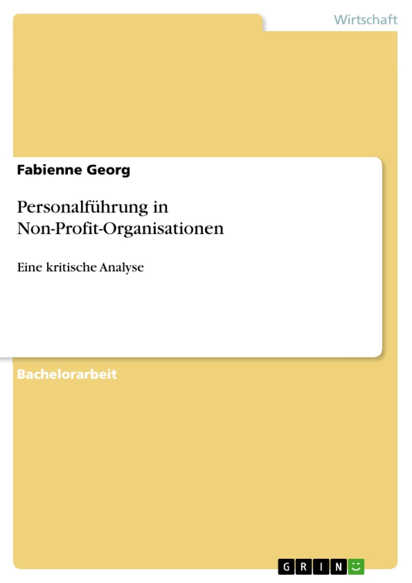 Titel: Personalführung in Non-Profit-Organisationen