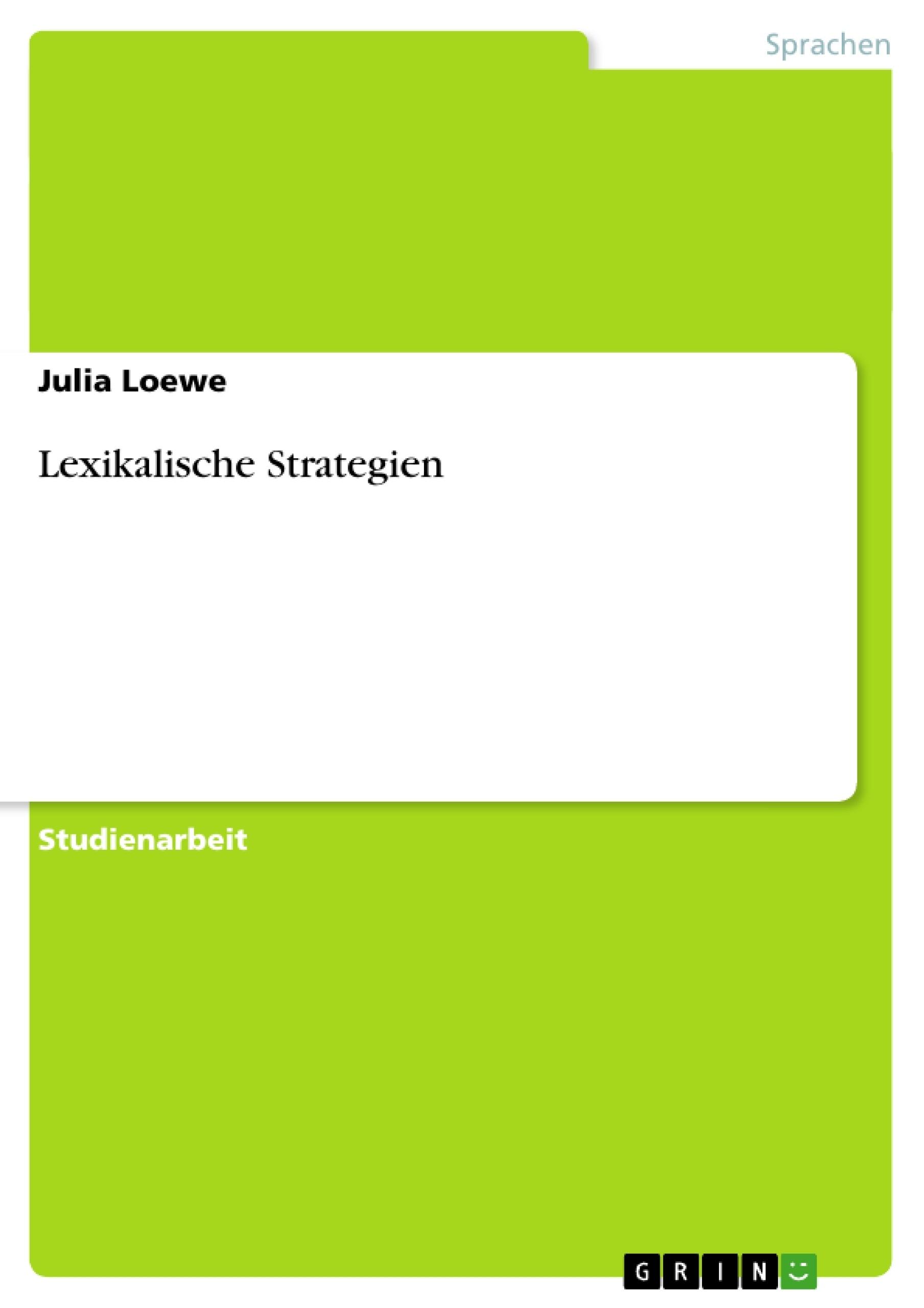 Titel: Lexikalische Strategien