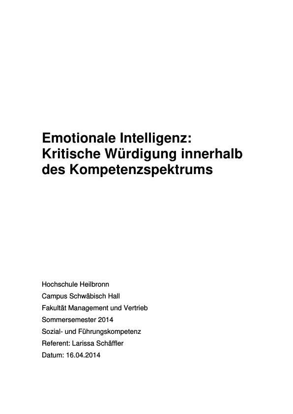 Titel: Emotionale Intelligenz. Eine kritische Würdigung innerhalb des Kompetenzspektrums