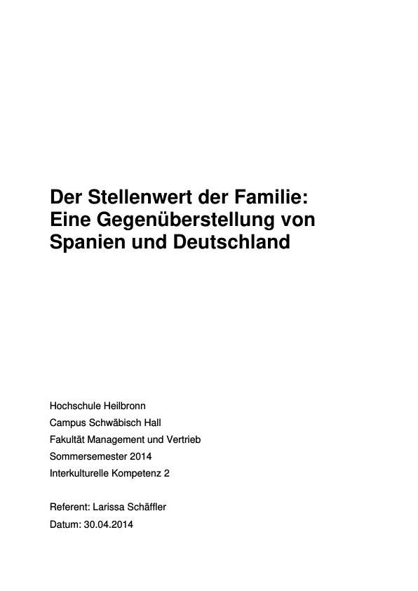 Titel: Stellenwert der Familie. Eine Gegenüberstellung von Spanien und Deutschland