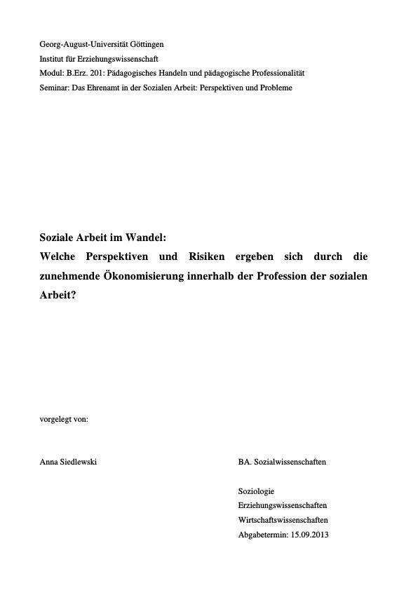 Titel: Soziale Arbeit im Wandel. Perspektiven und Risiken der zunehmenden Ökonomisierung