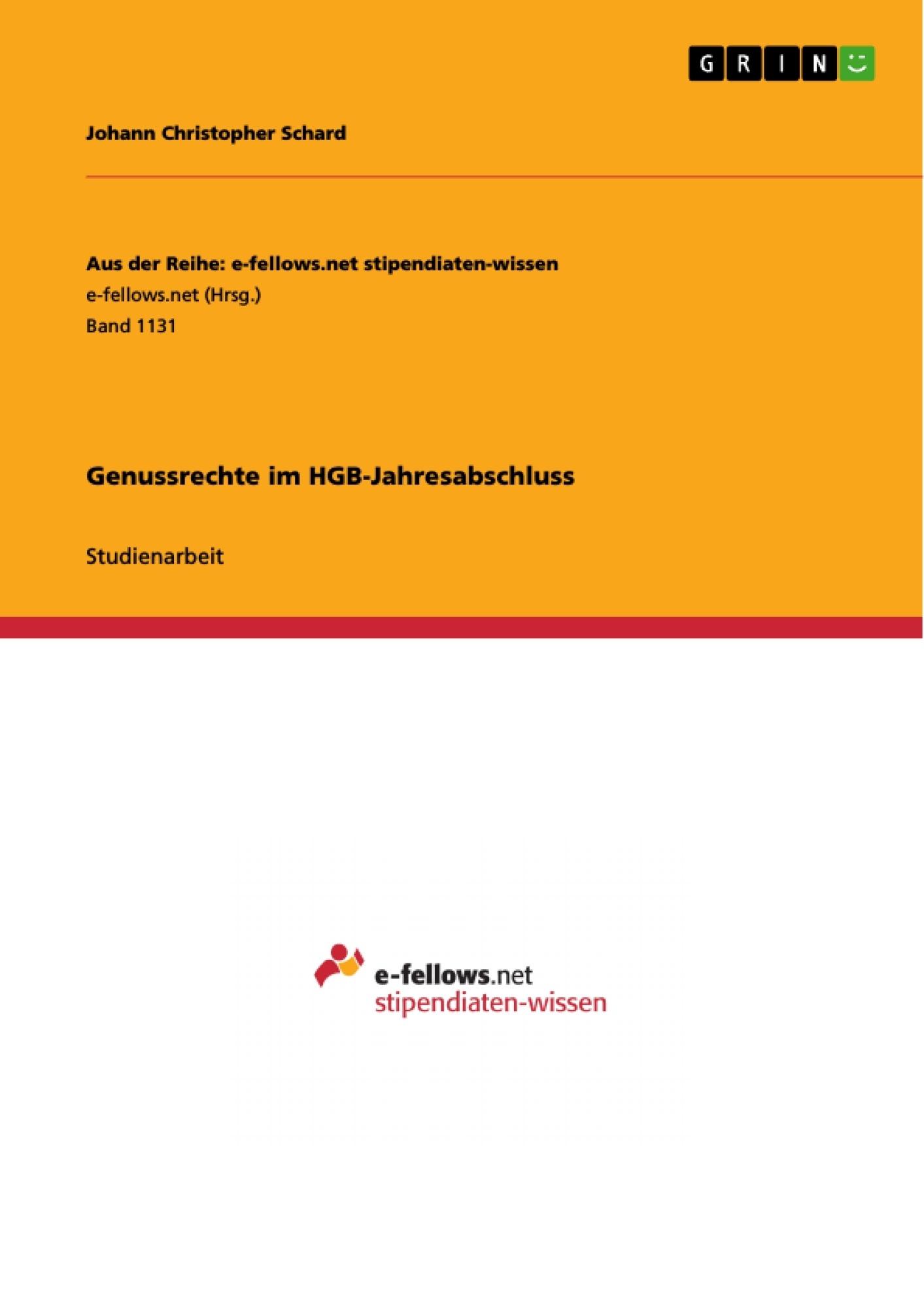 Titel: Genussrechte im HGB-Jahresabschluss