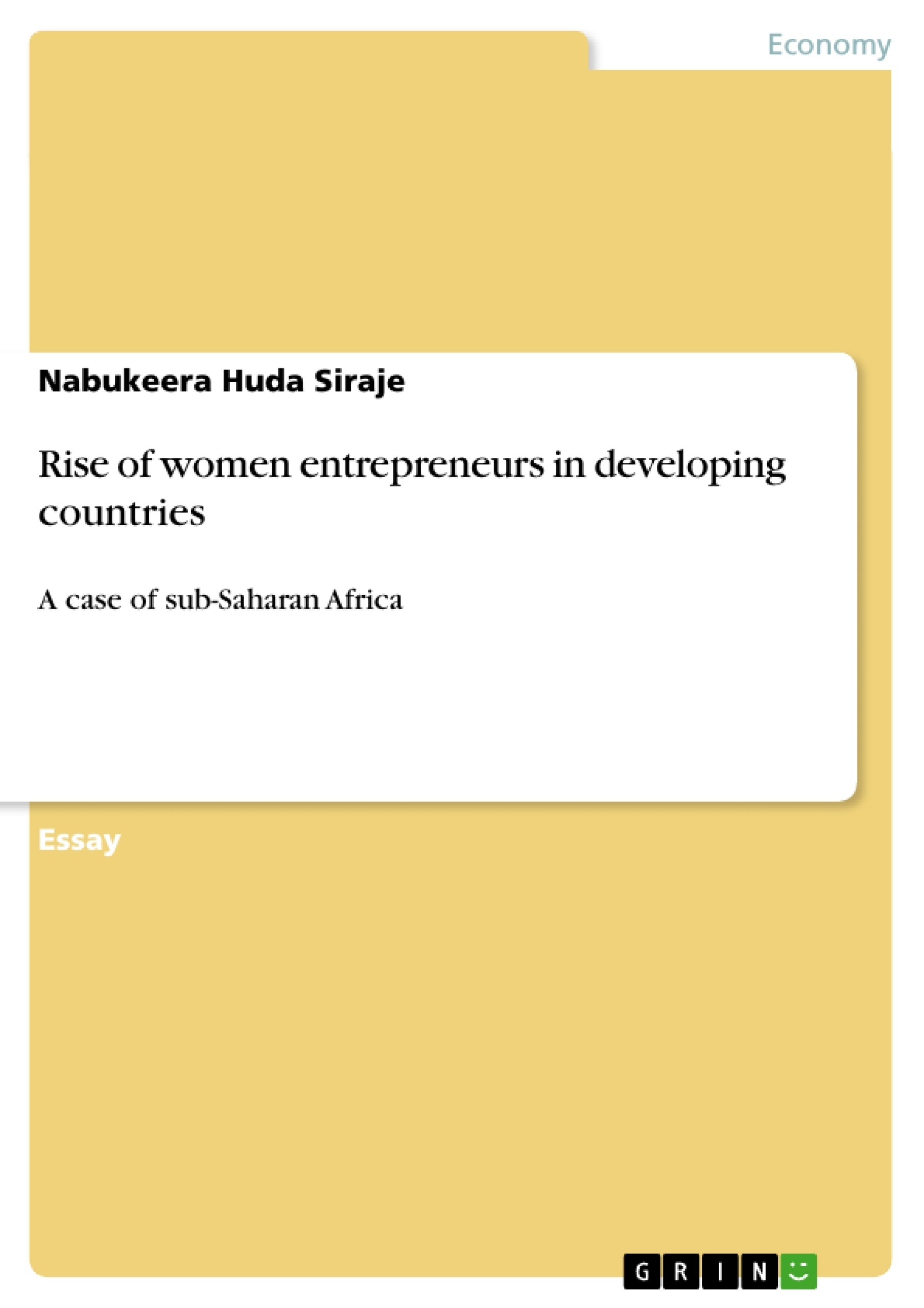 Title: Rise of women entrepreneurs in developing countries