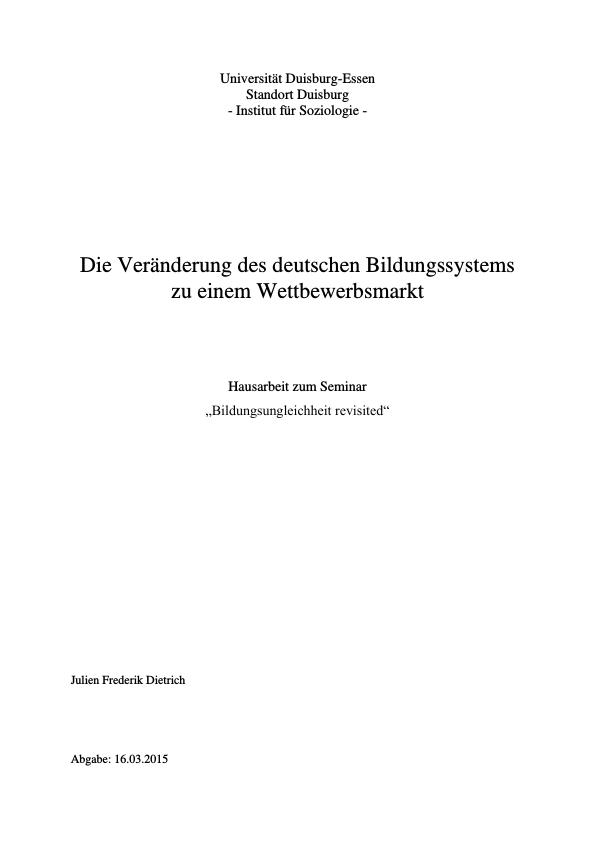 Titel: Die Veränderung des deutschen Bildungssystems zu einem Wettbewerbsmarkt. Hartmut Rosas Theorie der sozialen Beschleunigung