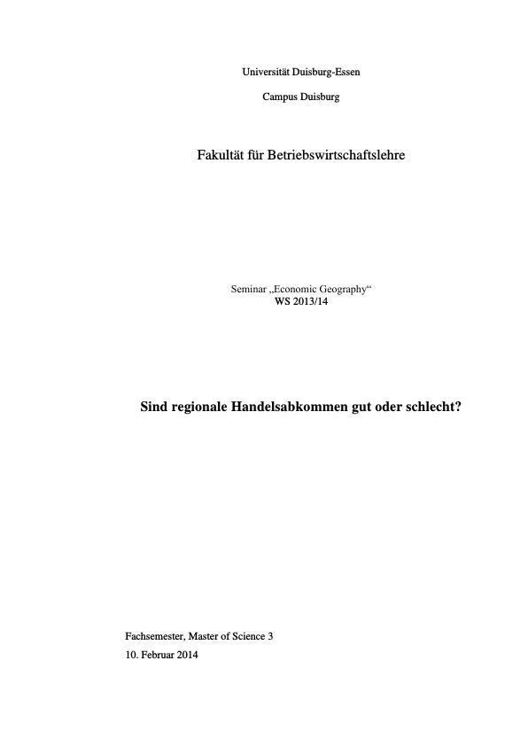 Titel: Vor- und Nachteile von regionalen Handelsabkommen