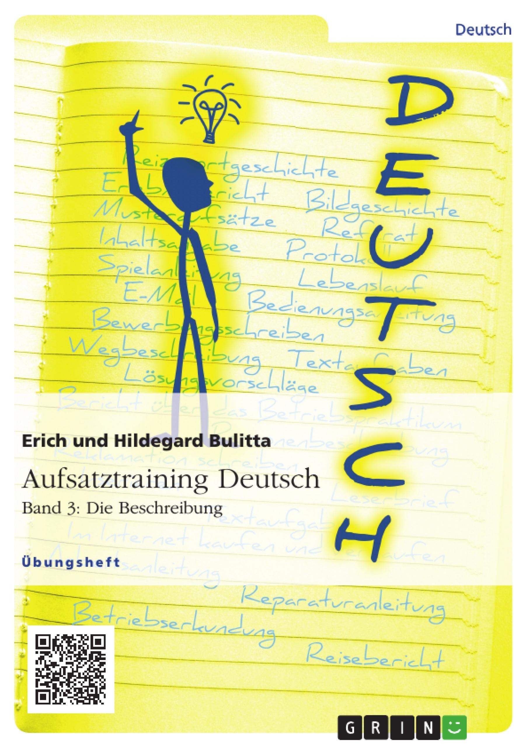 Titel: Aufsatztraining Deutsch - Band 3: Die Beschreibung