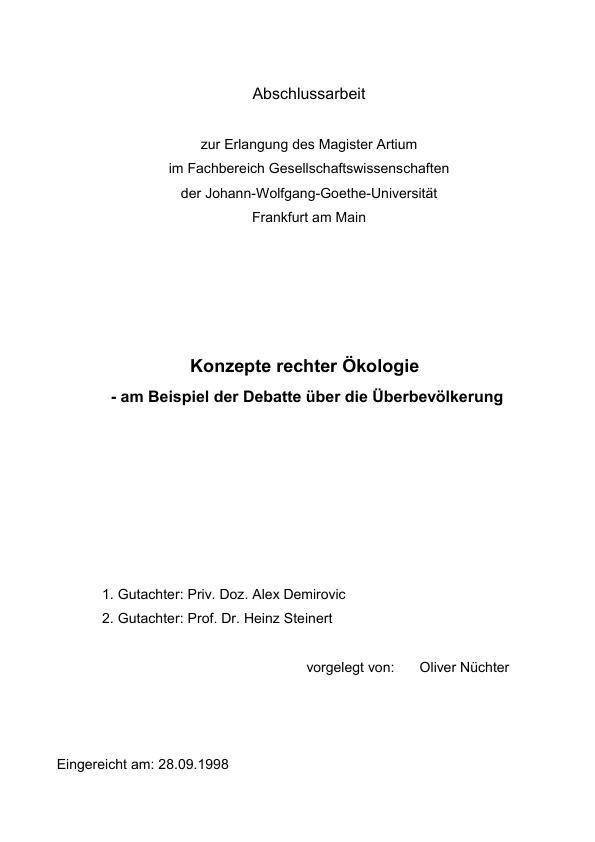 Titel: Konzepte rechter Ökologie - am Beispiel der Debatte über die Überbevölkerung